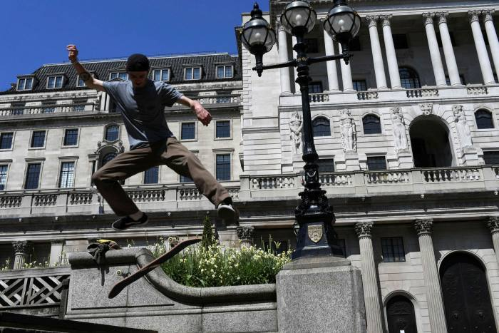 A skateboarder outside the Bank of England, London, in May