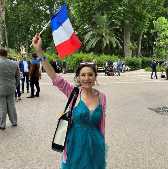 Brigitte Gazel, a local politician at the Rassemblement National gathering in Perpignan, is confident Marine Le Pen will 'get tougher'