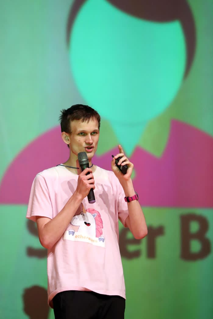 Vitalik Buterin, the founder of Ethereum, speaking at the Seoul Ethereum Meetup in 2017