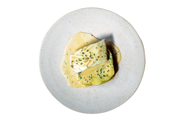 Poached brill and leeks