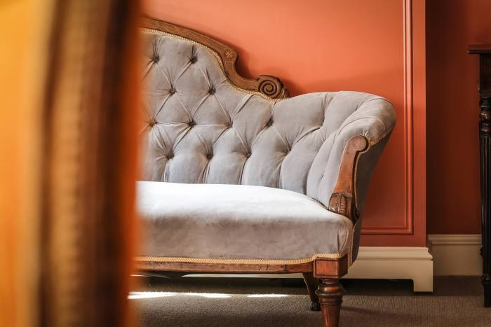 Vintage furniture features throughout the hotel