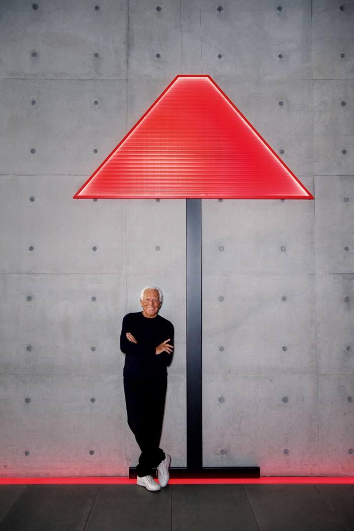 Giorgio Armani with his Armani/Casa Logo lamp (not to scale), £3,690