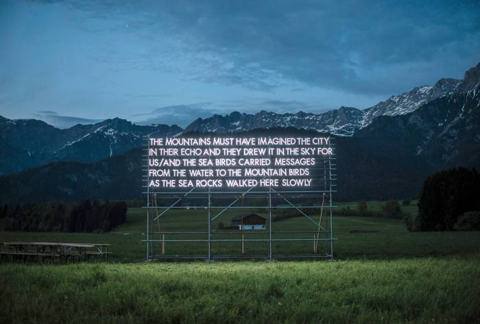 Searock Songlines, an LED light sculpture, by Robert Montgomery