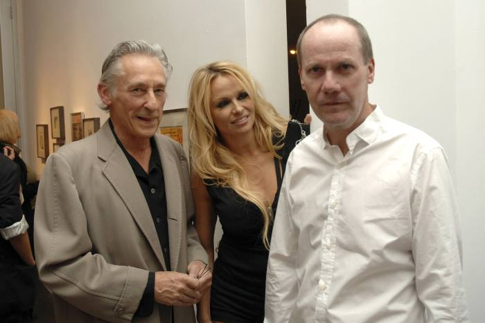 Pamela Anderson with Ed Ruscha (left) and Richard Prince in 2009