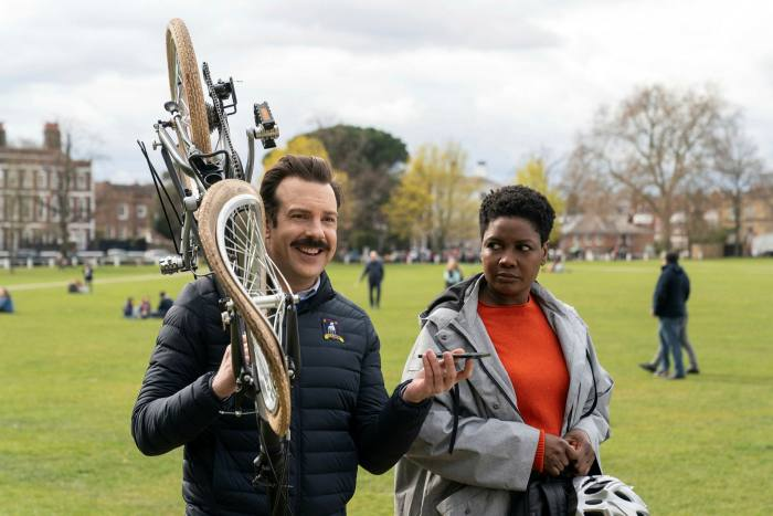Jason Sudeikis and Sarah Niles in Emmy-winning comedy 'Ted Lasso'