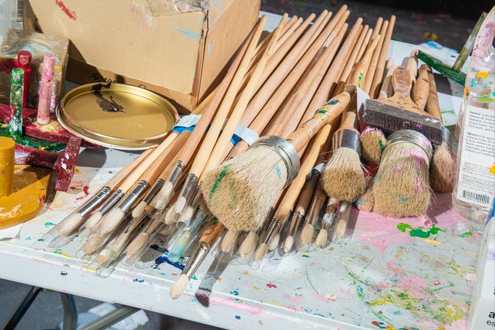"""Some of Hirst's brushes. He says: """"I think from the very beginning, I've always wanted to be a painter"""""""