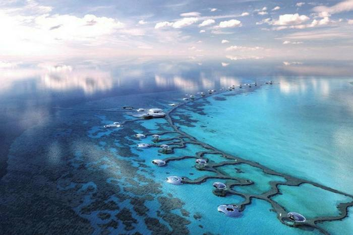 An image of development along Saudi Arabia's western coast as part of the Red Sea tourism project