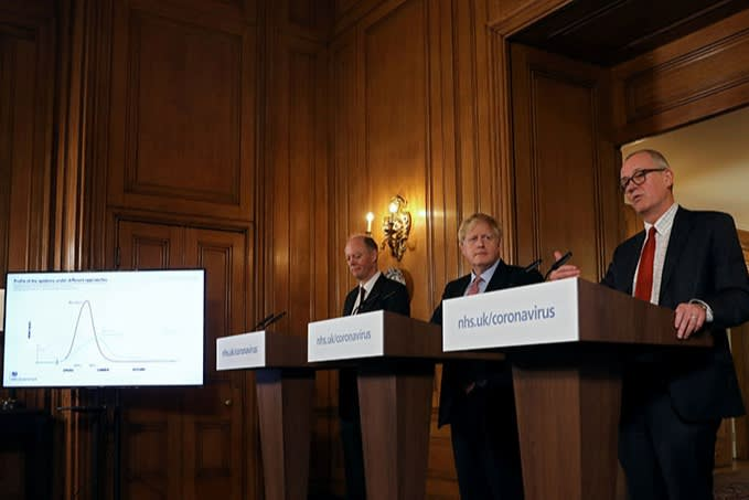 Boris Johnson flanked by Chris Whitty (left) and Patrick Vallance at the first big set-piece Downing Street press conference on March 12