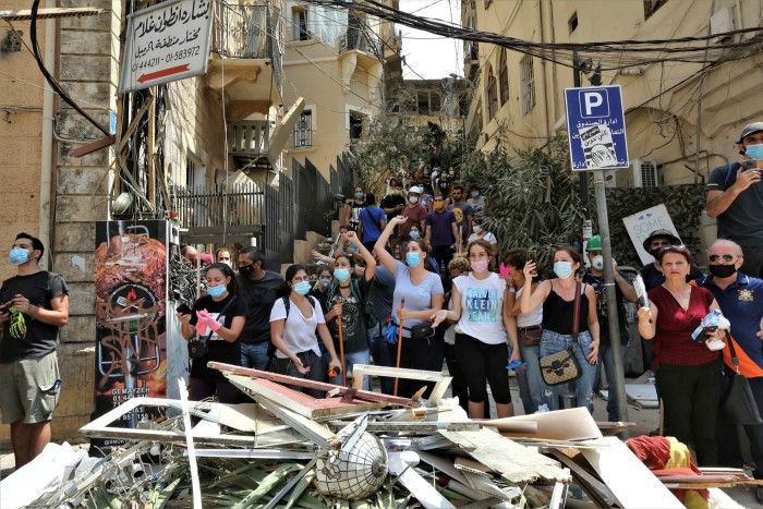 Anti-government protesters in Beirut