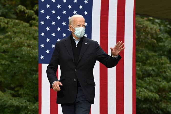 Biden at a campaign event in Grand Rapids, Michigan, this month. Even if the Democratic candidate defeats Trump by a landslide, his plans would run into almost immediate judicial difficulties
