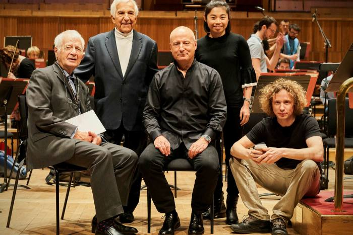 Jasper Parrott, co-founder of artist management company HarrisonParrott, which has launched live streaming service Virtual Circle, with conductors Vladimir Ashkenazy, Paavo Järvi, Elim Chan and Santtu-Matias Rouvali