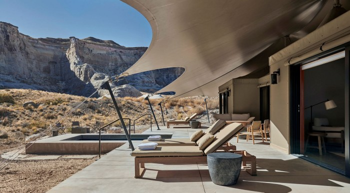 Each of the camp's 10 private 'tented pavilions' features an outdoor terrace and plunge pool