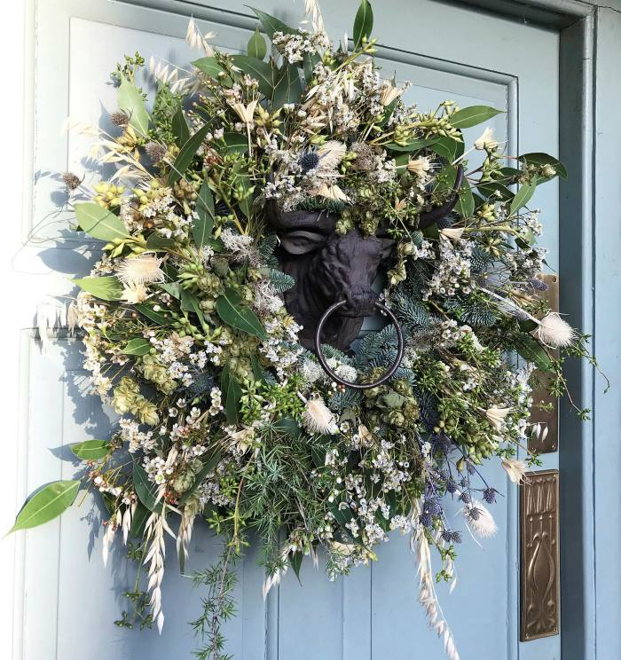 An autumnal wreath from florist Willow Crossley