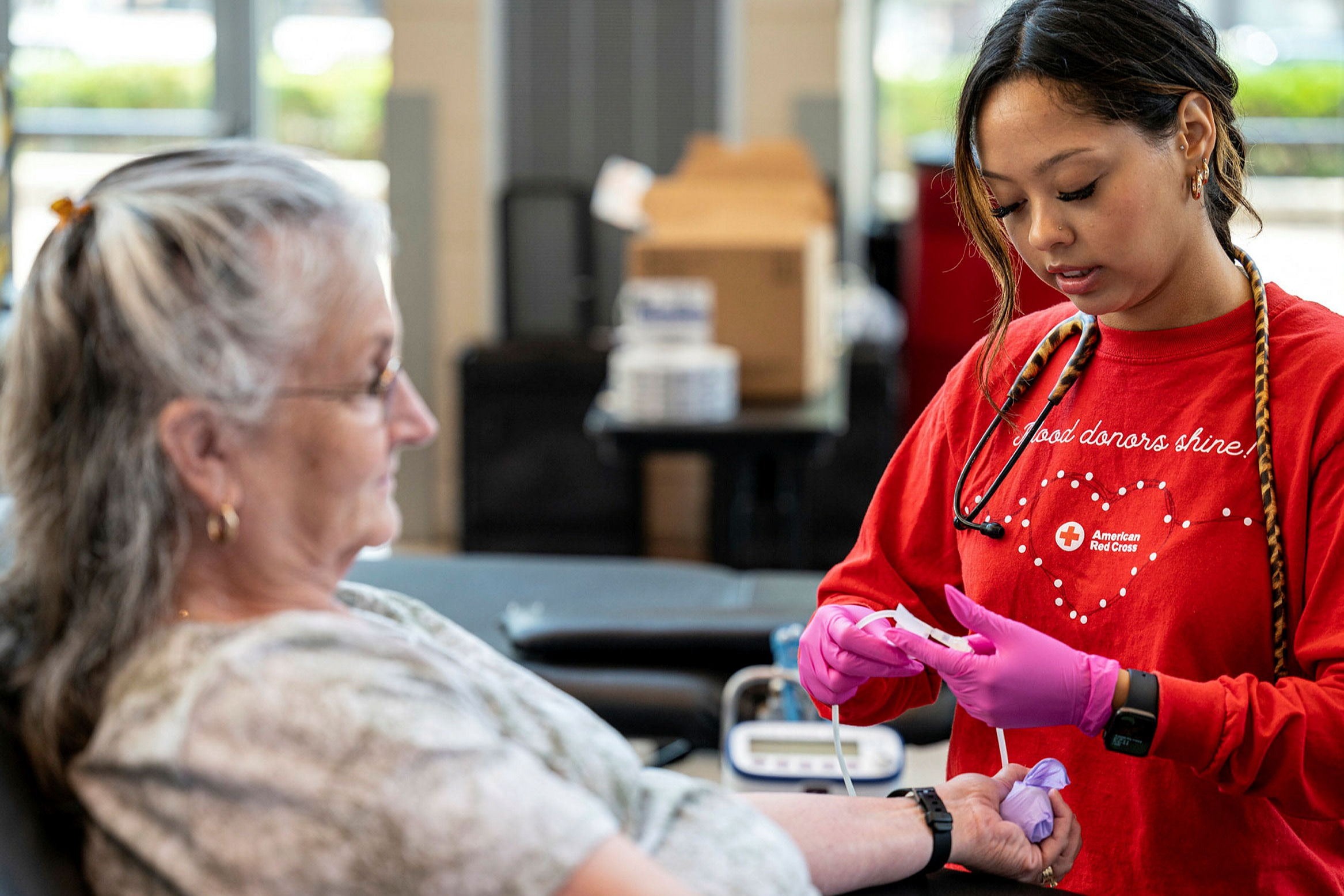 A donor gives blood at an exhibition centre in Louisville, Kentucky. A rush of elective surgery postponed by the Covid-19 pandemic has created a shortage of blood products