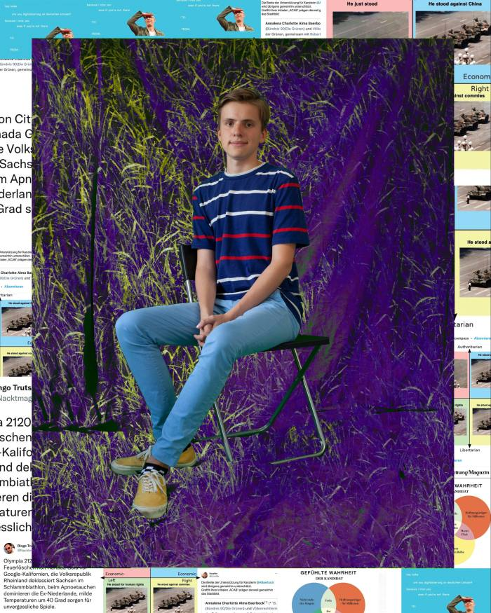 Portrait of Rufus Franzen, 17. He is sitting sideways on a chair, dressed in jeans and T-shirt