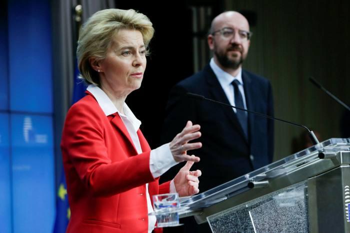 Ursula von der Leyen, European Commission president, at a press conference in Brussels, in March
