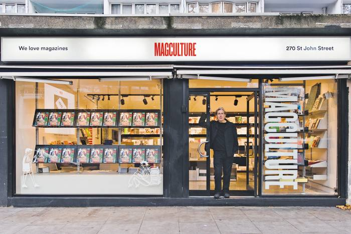 Jeremy Leslie infront of MagCulture inClerkenwell