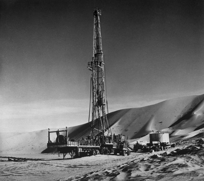 Drilling by the Arabian-American Oil Company, later Saudi Aramco, c1955