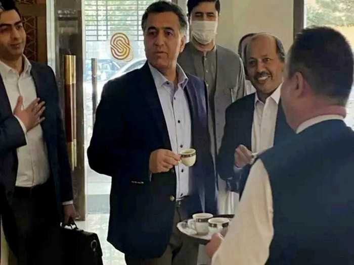 Pakistan's intelligence chief Faiz Hameed taking tea with the Taliban at the Serena hotel in Kabul on 4 September