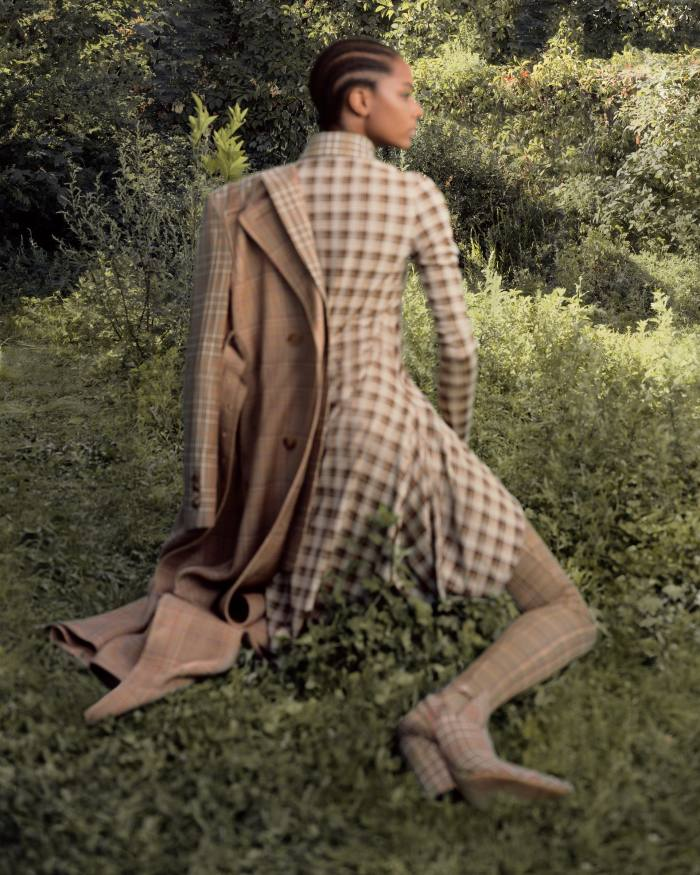 Burberry technical cotton and woolHoney coat, £3,290, stretch‑jersey Olive dress, £1,590, stretch-jersey Honeyjodhpurs, £750, andleather mules, POA