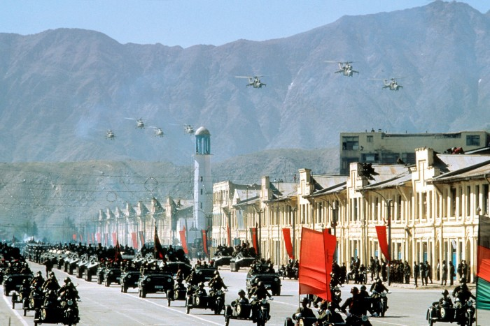 A military parade with Soviet-made weaponry in Kabul, 1986