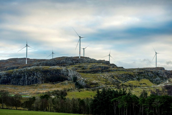 Wind turbines on a hillside in Norway. The EU's new rules and the huge demand for sustainable investments in the region are being watched around the world
