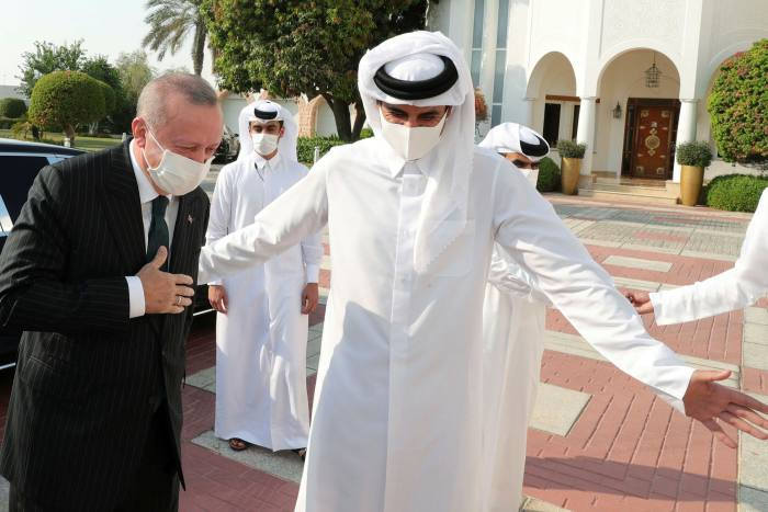 Turkey's president Recep Tayyip Erdogan arrives in Doha to meet Qatar's emir Sheikh Tamim bin Hamad al-Thani