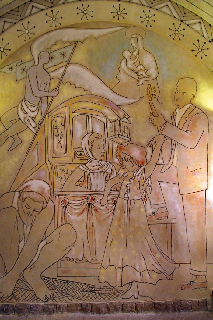 A fresco by Jean Cocteau at the Saint-Pierre Chapel in Villefranche-sur-Mer