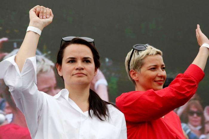 Svetlana Tikhanovskaya raises her fist