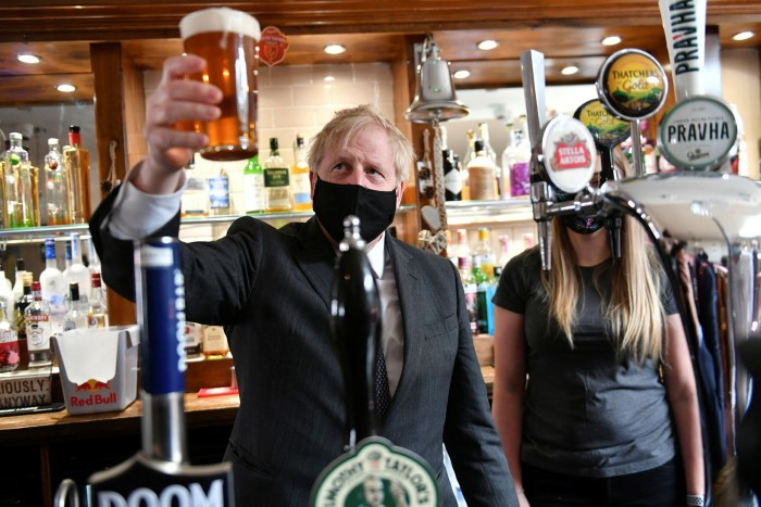 Boris Johnson in a pub in the West Midlands, where the prime ministeris hopeful his party can win local elections in the former Labour area despite the allegations of lying levelled against him