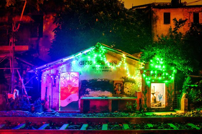 A community centre decked out in lights