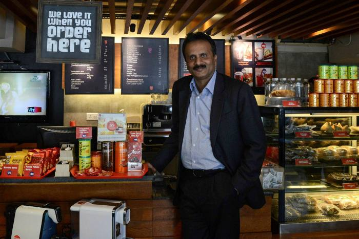 Siddharta at one of his coffee outlets in Ahmedabad in 2015