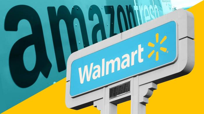 Amazon and Walmart's sales have ballooned during the pandemic, making them the world's two largest public companies in any sector by revenues