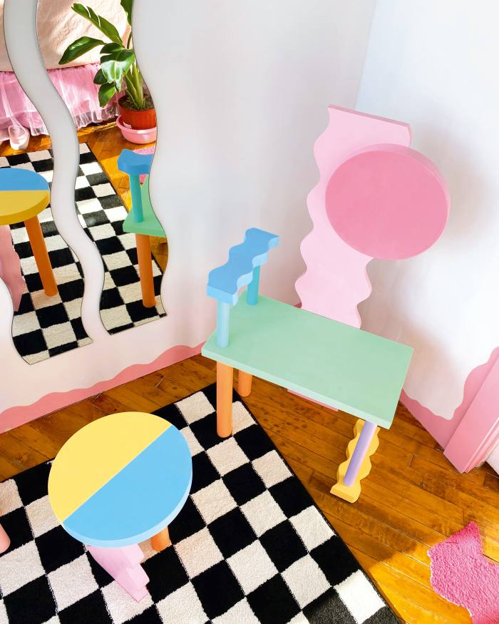 A selection of Sophie Collé's playful wood and latex paint designs