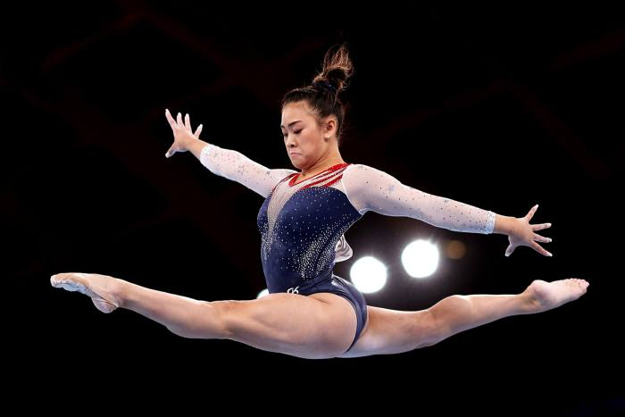 Gymnast Sunisa Lee of Team United States competes on balance beam during the women's all-around Final