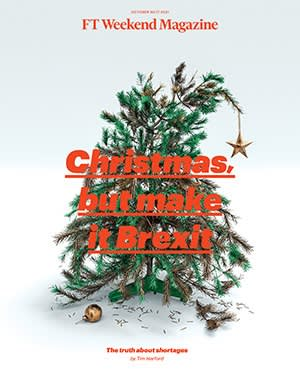 """The cover of the magazine shows a photograph of a decrepit and broken Christmas tree, almost falling over, with the words """"Christmas, but make it Brexit"""""""