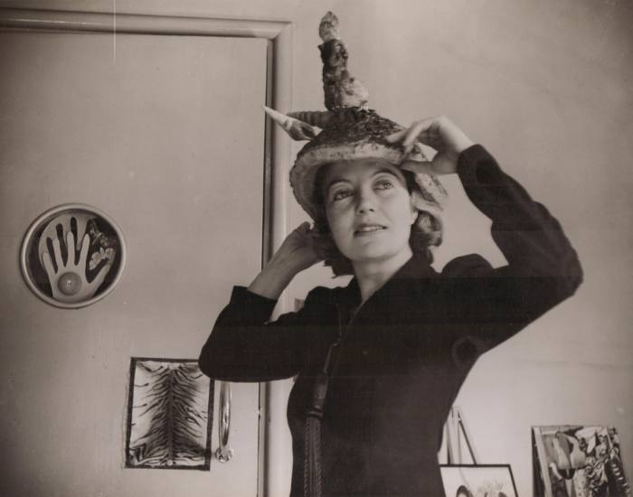 Agar wears her piece Ceremonial Hat for Eating Bouillabaisse, 1936