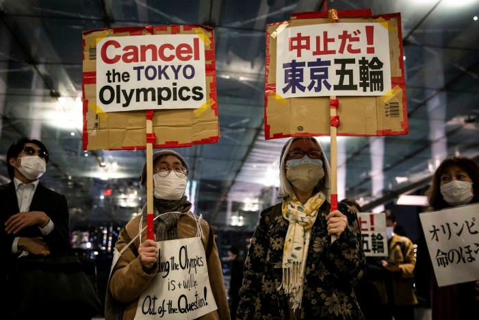 A protest on Thursday against the holding of the Tokyo Olympics