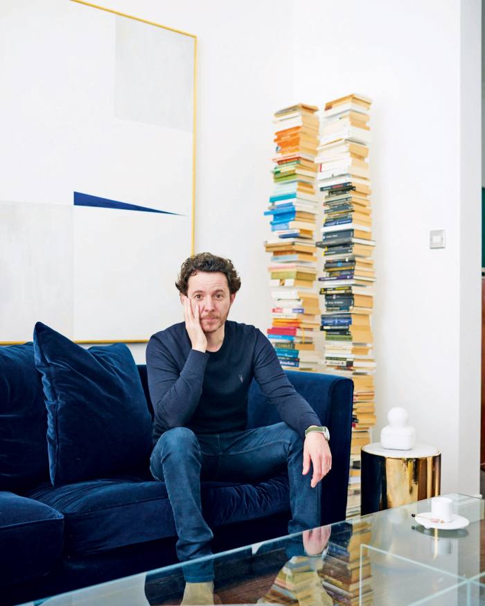 Is it a shelf, a sculpture or an architectural trick? Unsurprisingly, Pavlo Schtakleff, co-founder of the Sé design brand known for its cerebral furniture, arranges his reading in colour-coded book towers that suspend disbelief