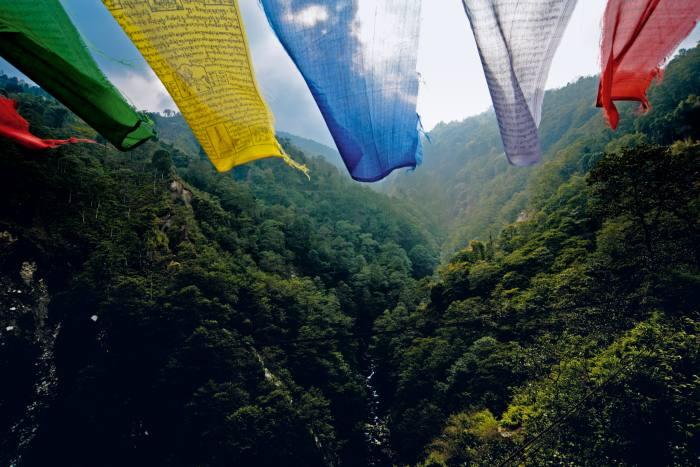Prayer flags seen from Singshore Bridge