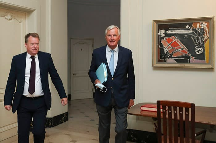 UK chief negotiator David Frost (left) and his EU counterpart Michel Barnier during the seventh round of talks, August 2020. Frost exhorted his team to be the 'leader' in the room, claiming the UK was too often 'a mouse'