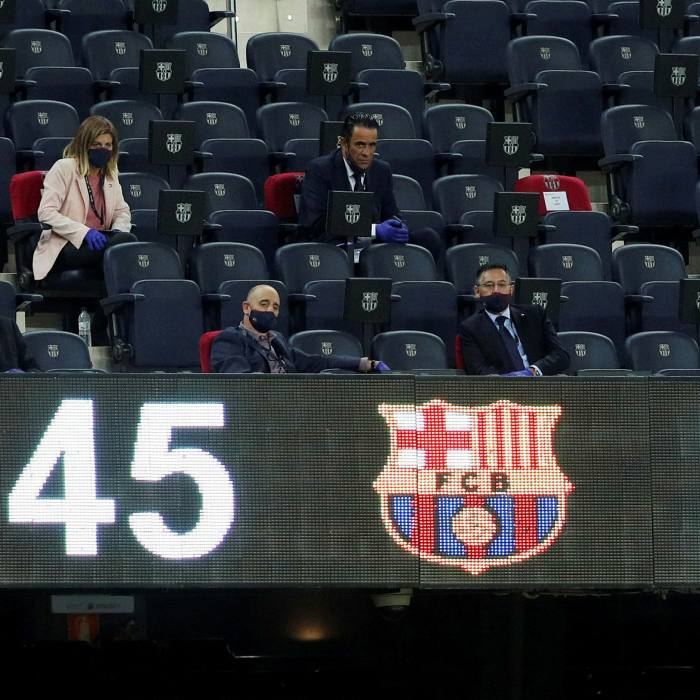 Josep Maria Bartomeu, front right, at Camp Nou. The outgoing president of FC Barcelona said in October that his club's 'board of directors have approved the acceptance of requirements to take part in a future European super league'