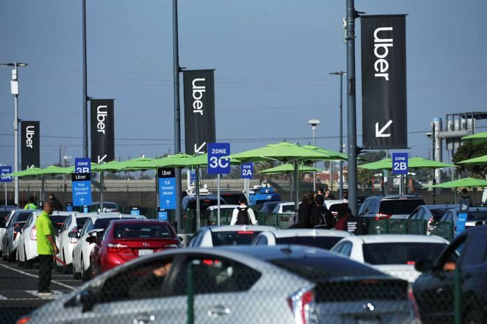 Uber vehicles outside Los Angeles International Airport
