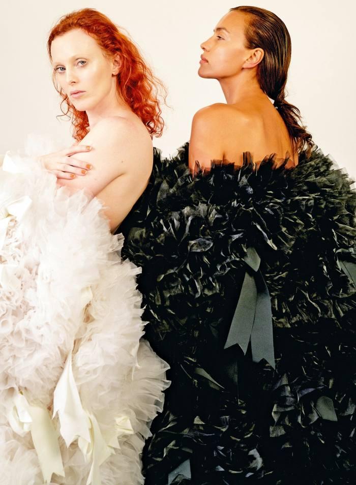 Karen Elson and Irina Shayk in Tomo Koizumi ruffled dresses