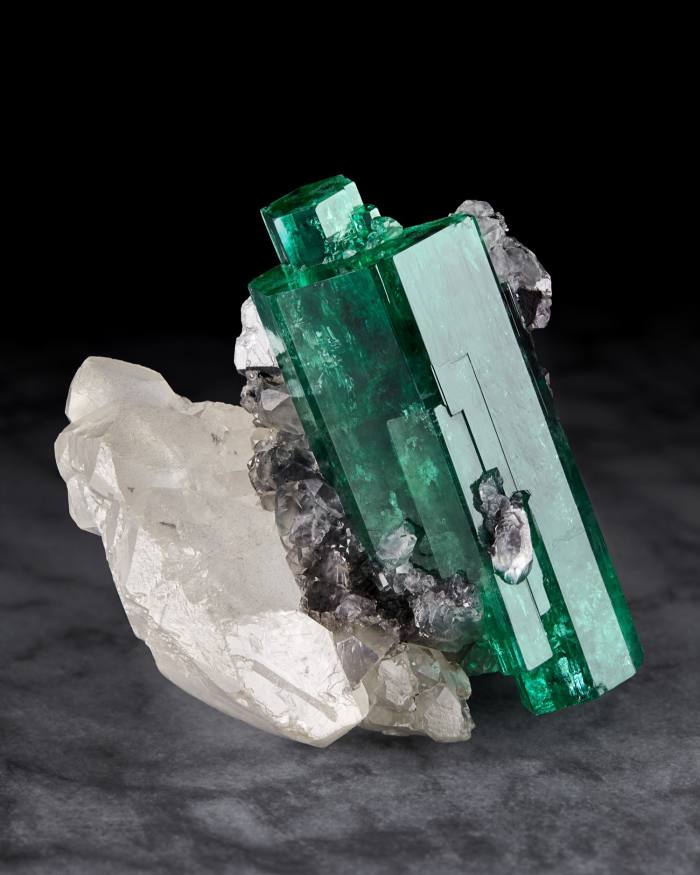 Colombian emerald on calcite, from a 2019 Wilensky exhibition