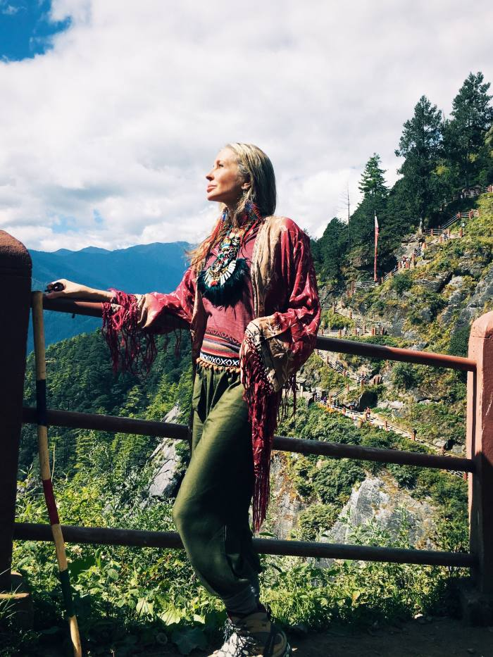 Carmen Busquets onahike to the Tiger'sNest in Bhutan