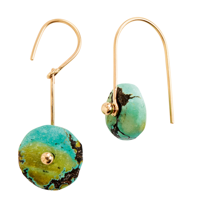 Permanent Collection gold and turquoise Blunk disc earrings, $440, and brass, horn and bone Sun Moon bracelet, $475