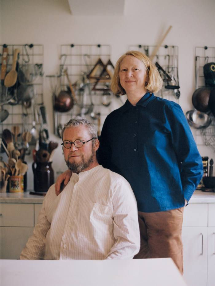 Fergus Henderson wears MHL. by Margaret Howell cotton linen shirt, £185. Glasses, his own. Margot Henderson wears MHL. by Margaret Howell cotton poplin shirt, £225,and cotton drill trousers, £335