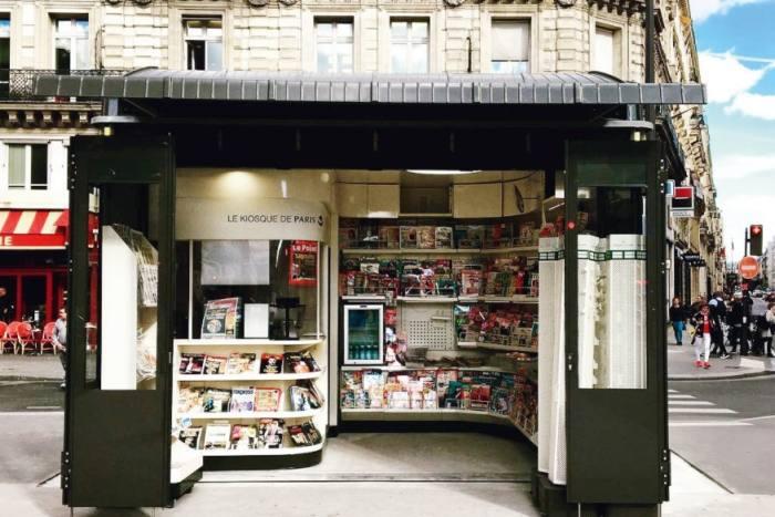 one of Paris' revamped newsstands