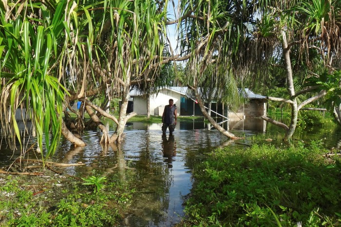 A 'king tide' event flooded Kili in the Marshall Islands in 2015. Rising sea levels threaten the islands' very existence